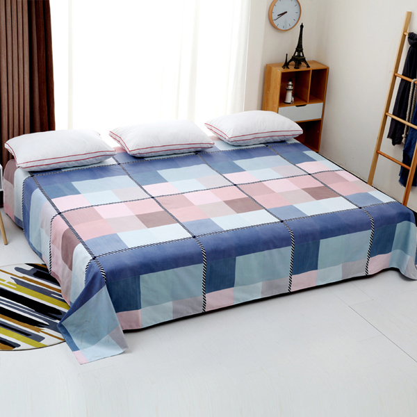 King Size Wide Space Printed Bed Cover Sheet - Checks