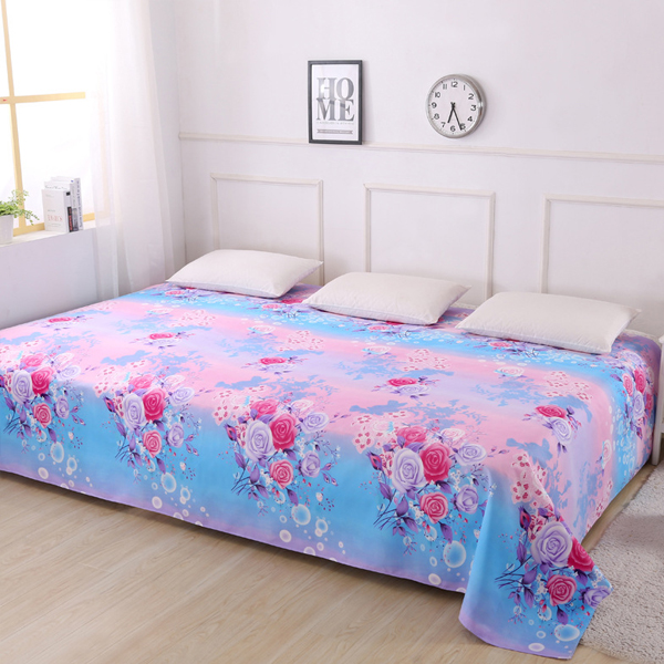 King Size Wide Space Printed Bed Cover Sheet - Multi Flowers