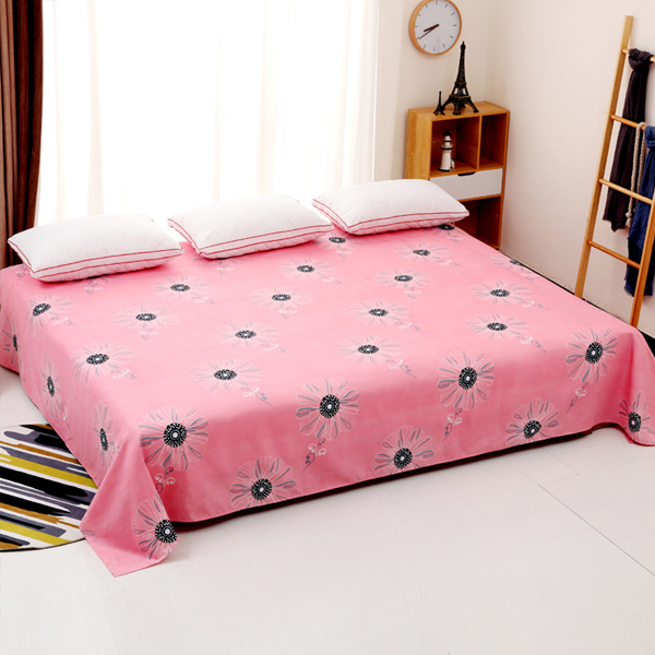 King Size Wide Space Floral Prints Bed Cover Sheet - Pink