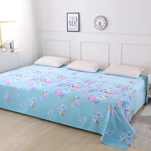 King Size Wide Space Printed Bed Cover Sheet - Blue Flowers