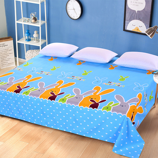 King Size Wide Space Bed Cover Sheet - Rabbit Prints