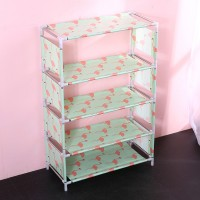 Printed Door Entrance Five Layers Shoes Rack - Light Green
