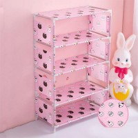 Five Layers Printed Door Entrance Shoe Rack - Pink