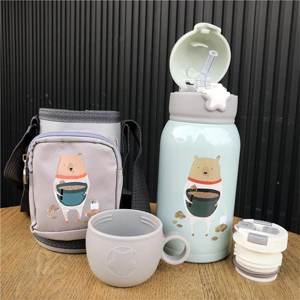Cartoon Print Kids Cup Dual-use Portable Water Bottle