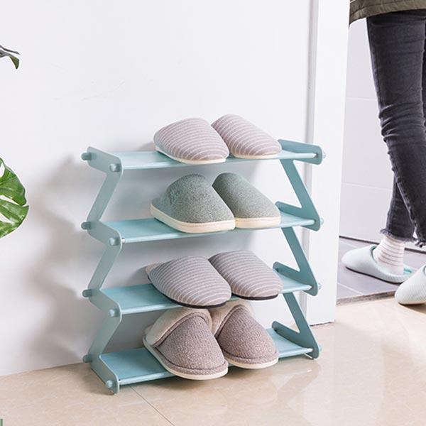 Creative Plain Plastic Multi-functional Shoes Rack - Blue
