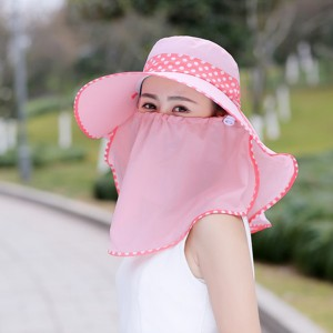 Face Mask Sun Protection Cap Traveller Hat - Pink