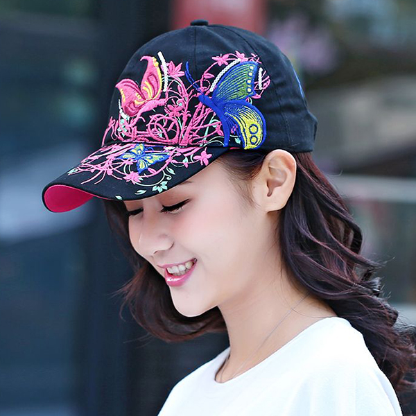 Thread Art Butterfly Casual Sun Protection Cap - Black