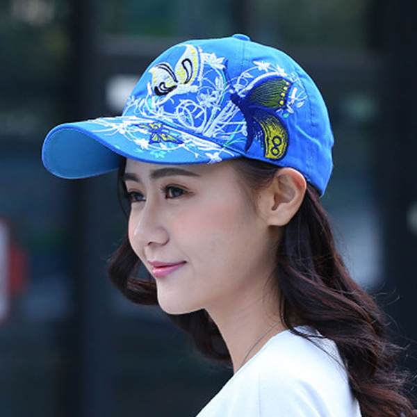 Thread Art Butterfly Casual Sun Protection Cap - Blue