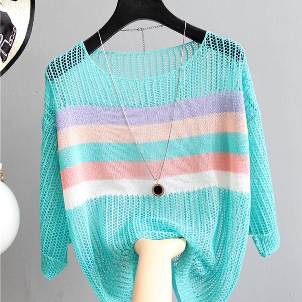 Net Loose Wear Summer Outwear T-Shirt - Sky Blue