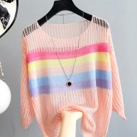 Net Loose Wear Summer Outwear T-Shirt - Apricot