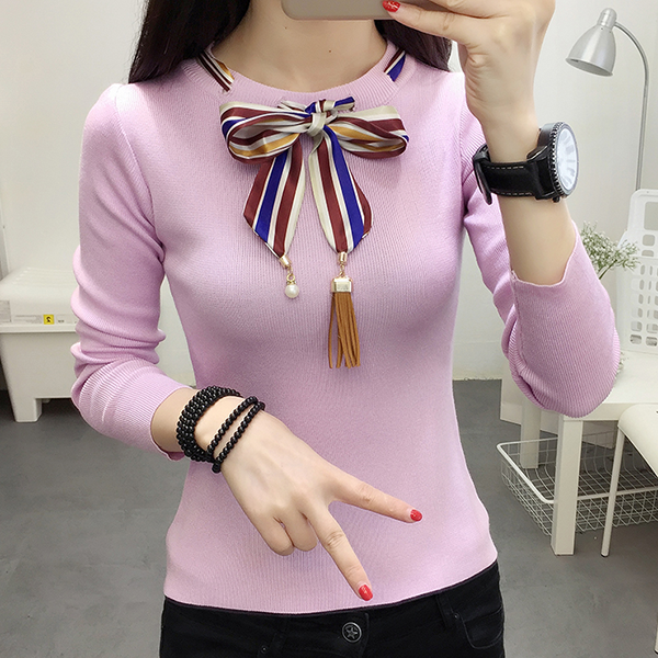 Bow Neck Ribbon Decorative T-Shirt - Pink