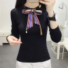 Bow Neck Ribbon Decorative T-Shirt - Black