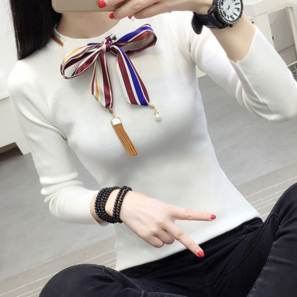 Bow Neck Ribbon Decorative T-Shirt - White