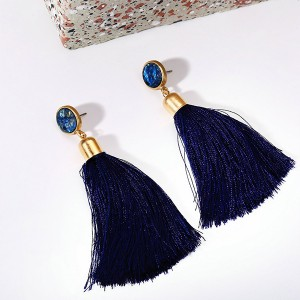Thread Art Tassel Fancy Wear Earrings Pair - Blue