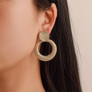 Mesh Engraved Round Gold Plated Earrings