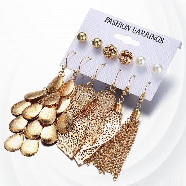 Creative Gold Plated Tassel Circle Earrings - Golden