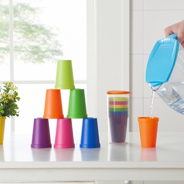 Seven Pieces Multicolor Plastic Tumbler Set