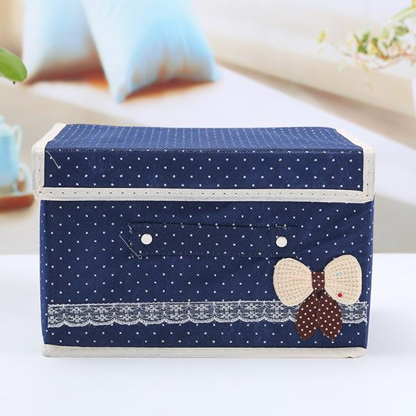 Polka Dots Canvas Trunk Storage Box - Dark Blue