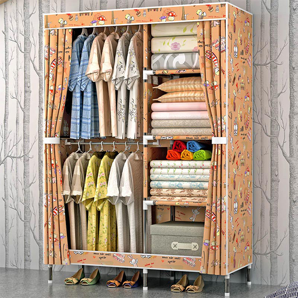 Cartoon Prints Six Partitioned Wardrobe