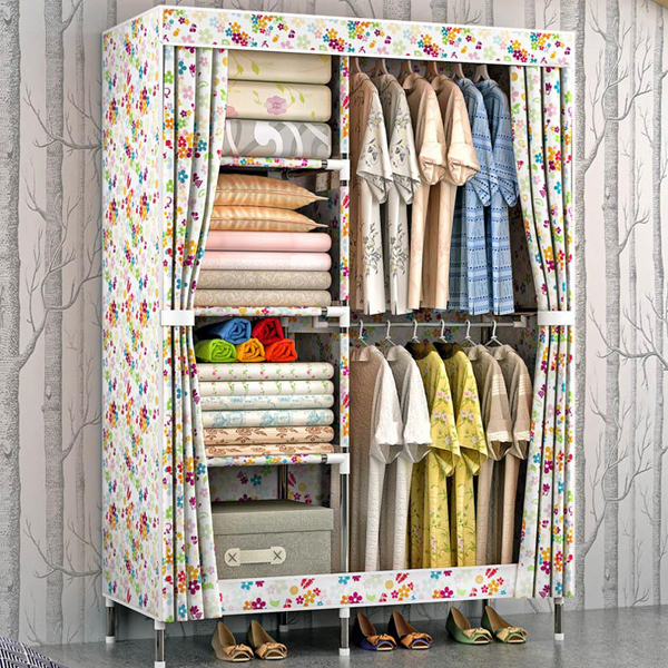 Floral Prints Six Partitioned Wardrobe - Multicolor