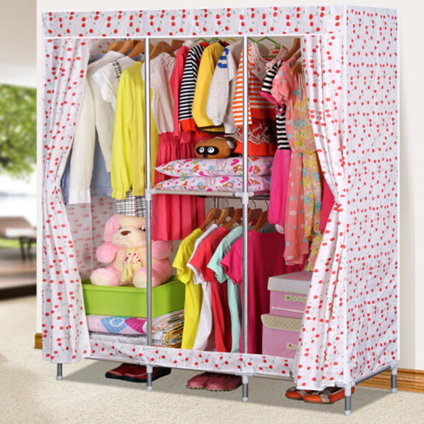 Cherry Printed Large Canvas Wardrobe