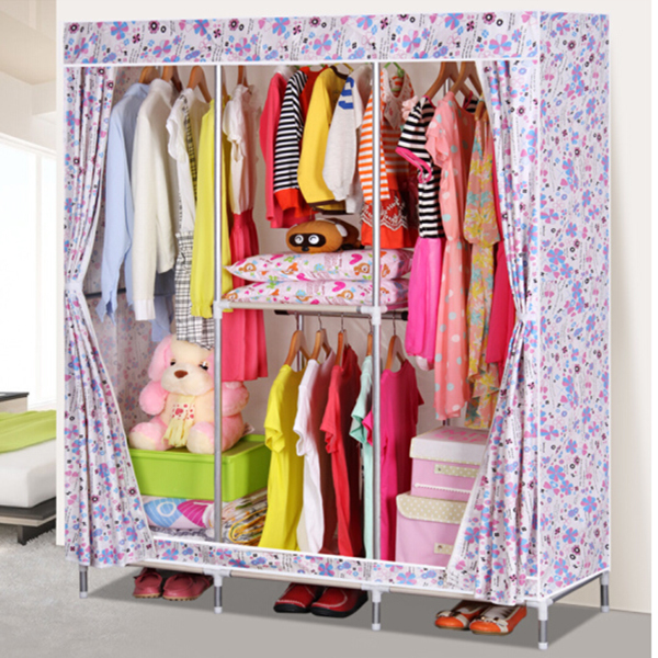 Multicolor Floral Printed Large Canvas Wardrobe