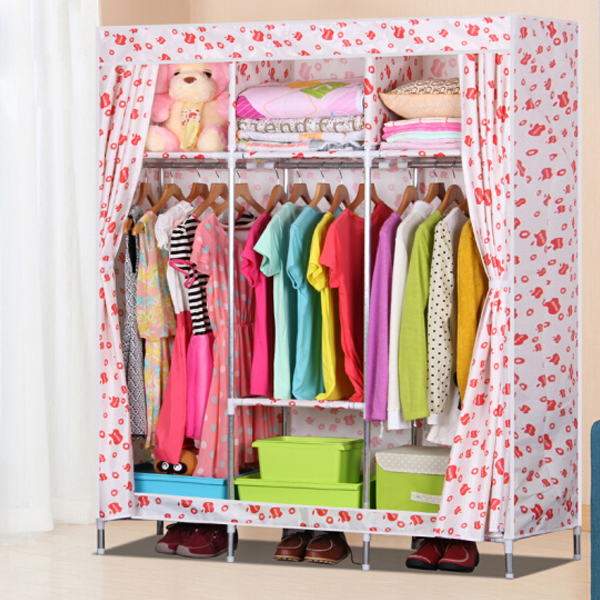 Curtain Three Sided Wardrobe - Apple Prints