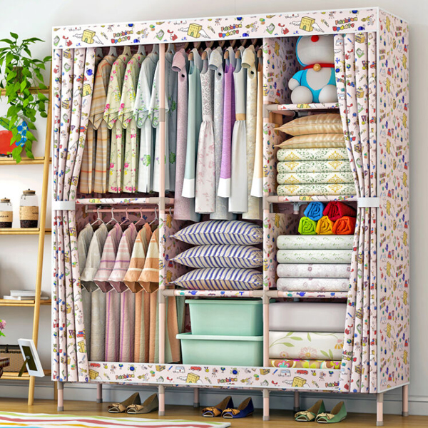 Printed Eight Partition Large Canvas Wardrobe - Cartoon Prints