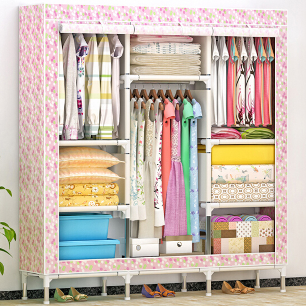 Printed Colorful Wide Space Wardrobe - Pink