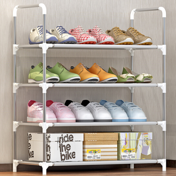 Four Layer Quality Rail Shoe Rack - Grey