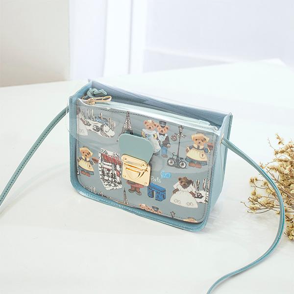 Jelly Flap Digital Printed Messenger Bags - Sky Blue