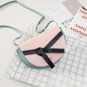 Ribbon Knotted Synthetic Leather Messenger Bags - Pink