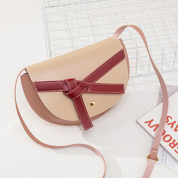 Ribbon Knotted Synthetic Leather Messenger Bags - Khaki