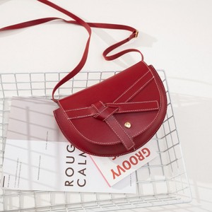 Ribbon Knotted Synthetic Leather Messenger Bags - Red