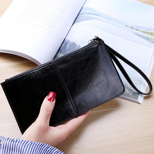 Fine Stitched PU Leather Women Wallet - Black