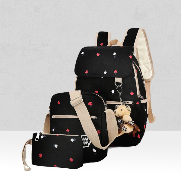 Floral Prints Three Pieces Canvas Backpacks - Black
