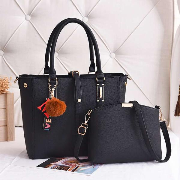 Two Pieces Formal Design Handbags Set - Black