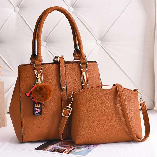 Two Pieces Formal Design Handbags Set - Yellow