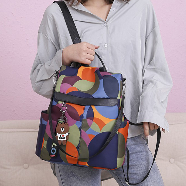 Multicolor Zipper Closure Canvas Backpacks