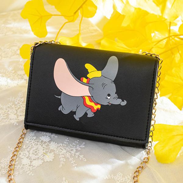 Elephant Prints Chain Strap Messenger Bags - Black