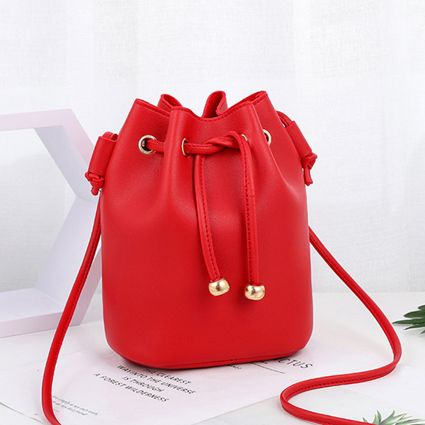Drawstring Bucket Style Synthetic Leather Bags - Red