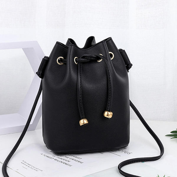 Drawstring Bucket Style Synthetic Leather Bags - Black
