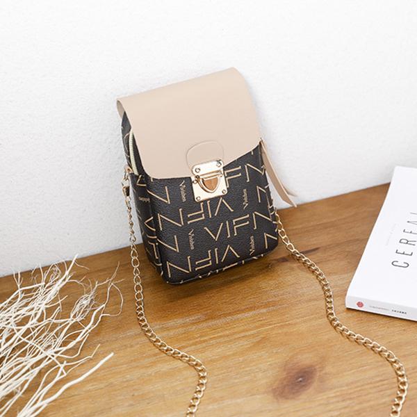 Alphabetical Prints Press Lock Shoulder Bags - Khaki
