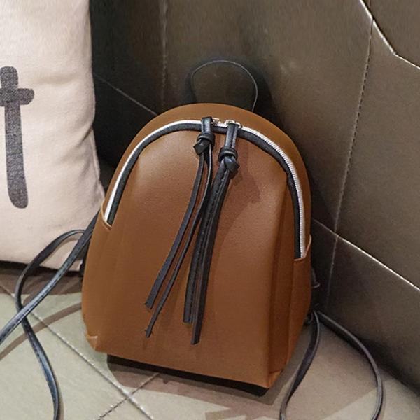 Zipper Closure Mini PU Leather Backpacks - Brown