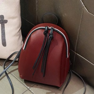 Zipper Closure Mini PU Leather Backpacks - Red