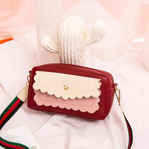 Elegant Wavy Zipper Wide Strap Messenger Bags - Red
