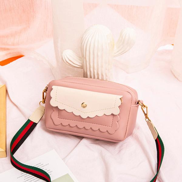 Elegant Wavy Zipper Wide Strap Messenger Bags - Pink
