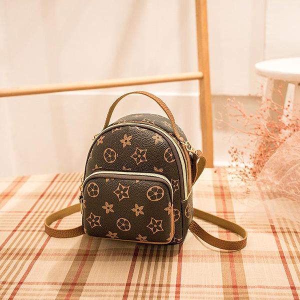 Printed Designer Patched Mini Backpacks - Brown