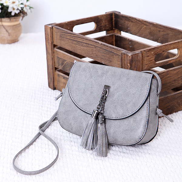 Tassel Decorative Round Flap Messenger Bags - Grey