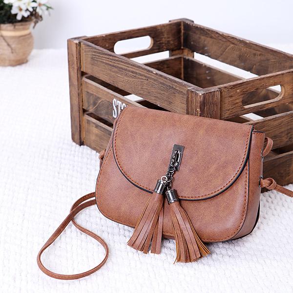 Tassel Decorative Round Flap Messenger Bags - Brown